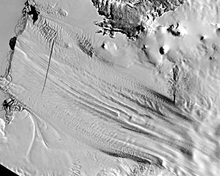 Zunge des Pine-Island-Gletschers im Jahre 2001