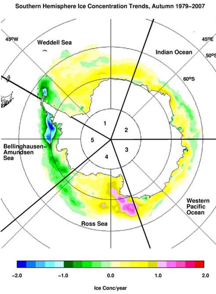 Meereiskonzentration in der Antarktis