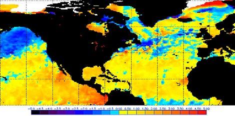 Anomalien der Meeresoberflächentemperaturen am 01.10.2009