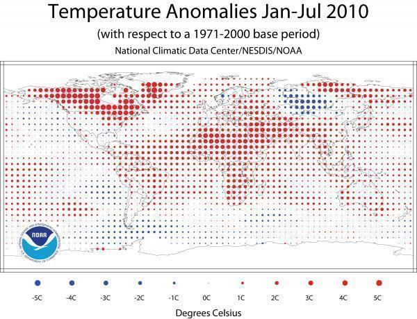 Anomalien Januar - Juli 2010