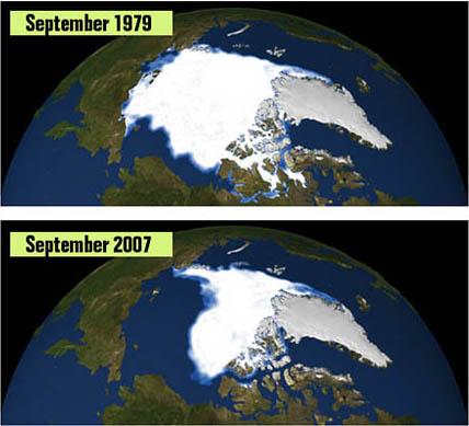 Eisausdehnung in der Arktis 1979 und 2007