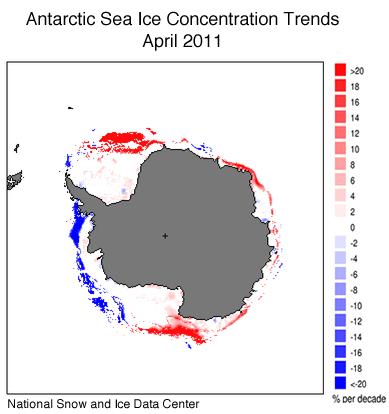 Trends der Meereis-Konzentration in der Antarktis
