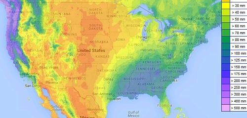 USA: Monatssumme Niederschlag im Januar