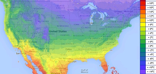 USA: Monatsmitteltemperaturen im Januar