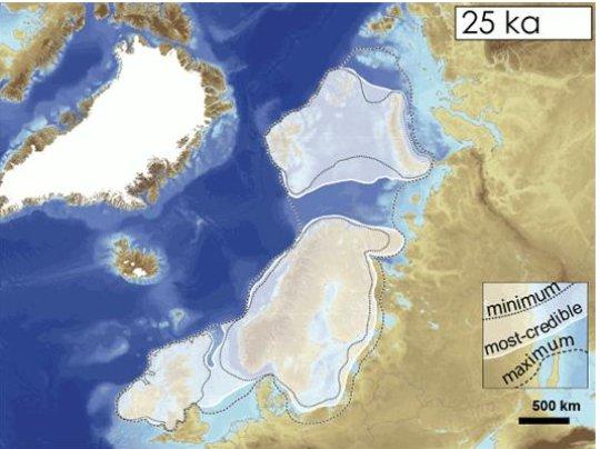 Eurasisches Eisschild vor 25.000 Jahren