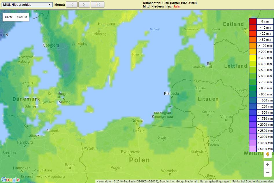 Jahresniederschlag Ostsee