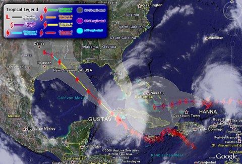Zugbahnen von Hurrikan Gustav und Tropensturm HANNA